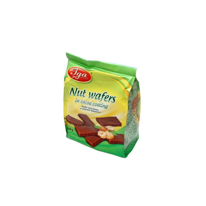 Nut wafers in cocoa coating 250gx12